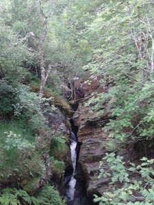 The gorge like waterfall on the Burn of Brown