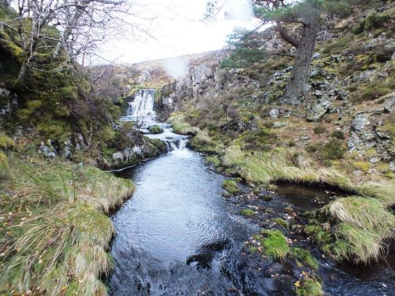 Impassabe waterfall in the upper Allt Iomadaigh