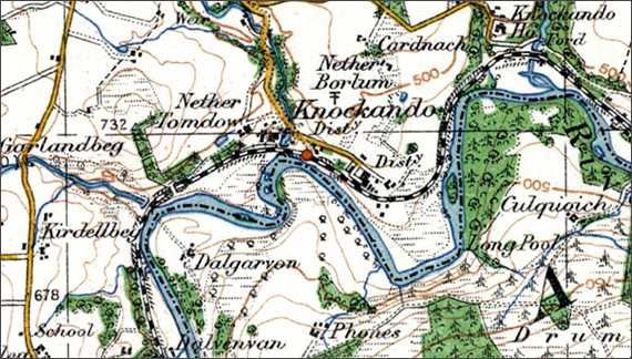 Old OS Map of Knockando and Nether Borlum, Location of the SFB Offices