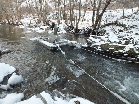 Cold day at the Truim smolt trap