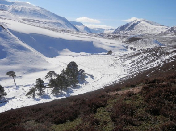 A snowy Glen Einich. The Am Beanaidh, a tributary of the Druie flows along the bottom of the valley pictured.