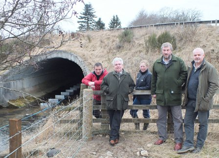 From the left:Duncan Ferguson, Grant Mortimer, Liz Henderson (Spey Catchment Initiative), Hugh Adcock (Strathspey Angling Improvement Association) and Brian Shaw