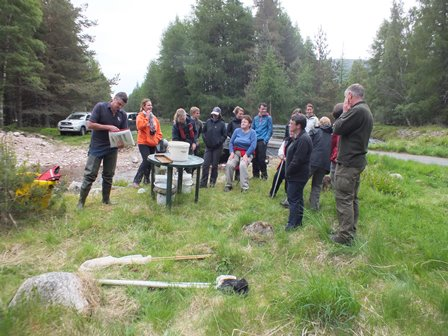 SNH staff induction fisheries session by the Allt Ruadh