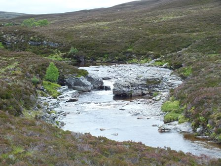 Typical view of the upper middle reaches of the Feshie, rocky cascades with gravelly sections between.