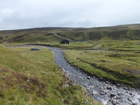 The survey site in the Feithlinn (actually the Allt Mor) was a short section 18m long just above the confluence with the burn that joins form the right.