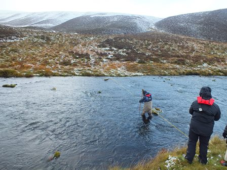 SEPA recording water depths at a river transect just below Tromie Dam