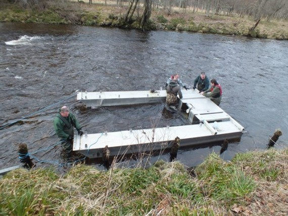 The team building the 6' RST in the lower Avon