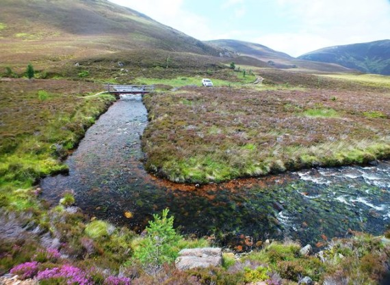 The site of the former Bynack Stable bothy. Our electofishing site was 10m upstream of the footbridge.