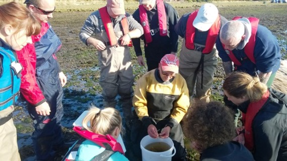 Steve Coates, course leader, helps the course members with fish identification.