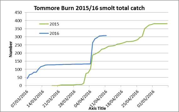 Tommore trap running total salmon presmolt/smolt 2015/16